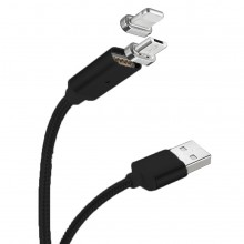 Cablu Magnetic 2in1 Micro USB & Lightning to USB - 1m Black