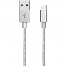 Cablu impletit AKASHI Micro USB Silver
