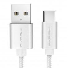 Cablu impletit AKASHI USB-C, 1m, 3A - incarcare rapida, Silver
