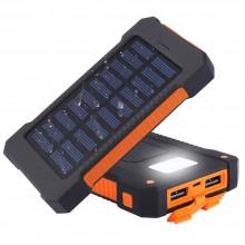 Baterie portabila AKASHI, 2XUSB, waterproof IPX4, panou solar, lanterna, 8000mAh, Black/Orange