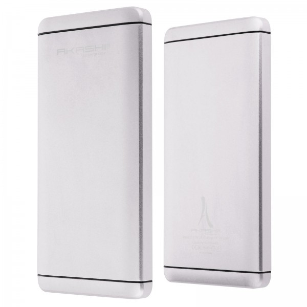 Acumulator extern slim AKASHI aluminium 10000mAh 2XUSB, Silver