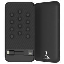 Acumulator extern slim AKASHI 8000mAh cu prindere cu ventuze si cabluri incluse (Lightning / USB-C/ Micro USB), Black