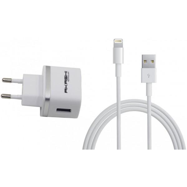 Kit incarcare priza AKASHI cu cablu Apple Lightning 1m, White