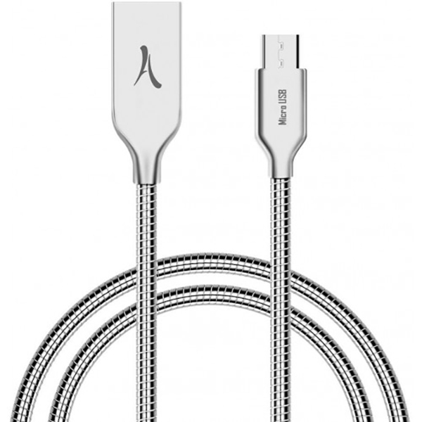Cablu Premium Metalic AKASHI MicroUSB 1m Silver