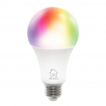 Bec smart LED RGB, DELTACO, E27, WiFI 2.4GHz, 9W, 810lm, 16mil culori, 220-240V, alb