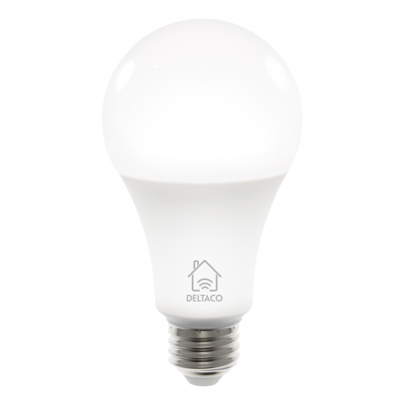 Bec smart LED, DELTACO SMART HOME, E27, WiFI 2.4GHz, 9W, 810lm, Google Assistant si Amazon Alexa, 2700K-6500K, 220-240V, alb