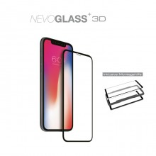 Folie de sticla cu aplicator full screen 3D NEVOX NevoGlass+ pentru Apple iPhone 11, Clear/Black