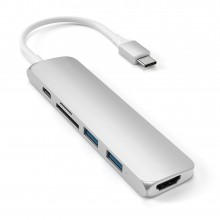 Adaptor SATECHI Multi-Port Slim V2 Aluminum Type-C Silver