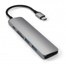Adaptor SATECHI Multi-Port Slim V2 Aluminum Type-C Space Grey