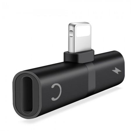 Adaptor 2in1 Lightning pentru iPhone cu Audio Output & Charging Function Negru/ Alb