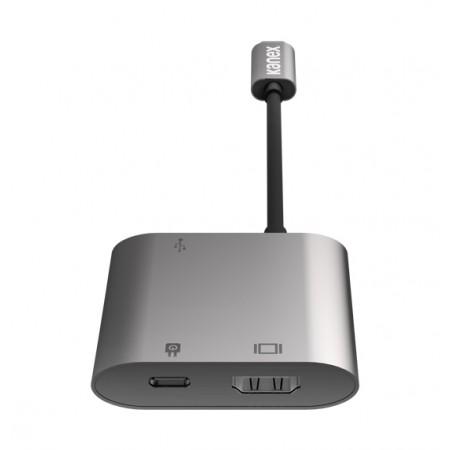 Adaptor multimedia Kanex 3in1, USB-C to HDMI, USB 3.0, incarcare, Gri