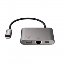 Adaptor Kanex 5in1, USB-C to Gigabit Ethernet si Power Delivery, Gri