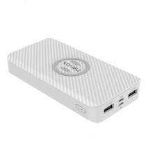 Power bank wireless NEVOX 10000mAh, USB-C imput/output, Lightning imput, 2xUSB, White Carbon