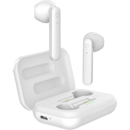 Casti handsfree bluetooth stereo true wireless, AKASHI EarBuds, 300mAh, Cutie incarcare, Alb