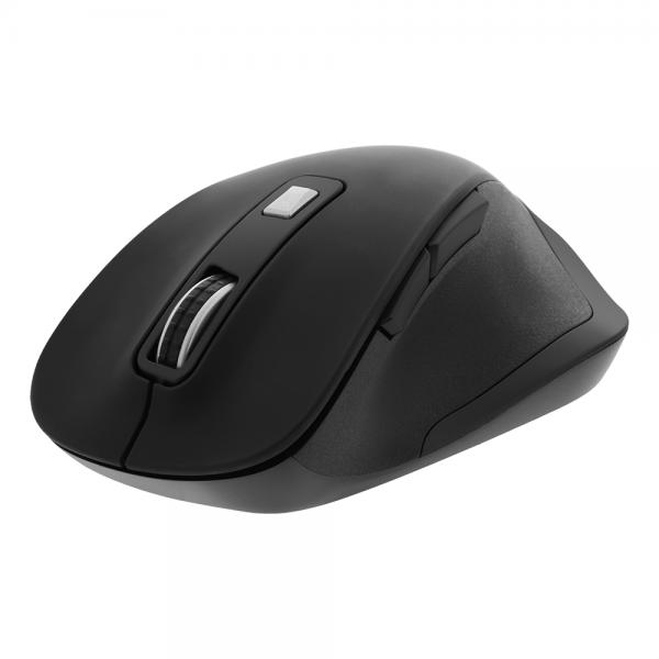 Mouse ergonomic wireless silentios DELTACO OFFICE, 2400 DPI, 6 butoane, receptor USB Nano de 2,4 GHz, negru