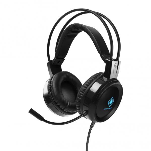 Casti gaming LED RGB stereo DELTACO GAMING, 50mm, 2x 3,5mm, pentru PC / Mac / Xbox / PS4 / mobile, black