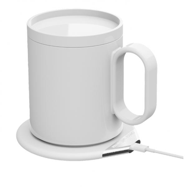 Cana smart GadgetMonster Smart Mug + incarcator wireless Qi, pastreaza bautura calda pana la 55 grade, 350ml, negru