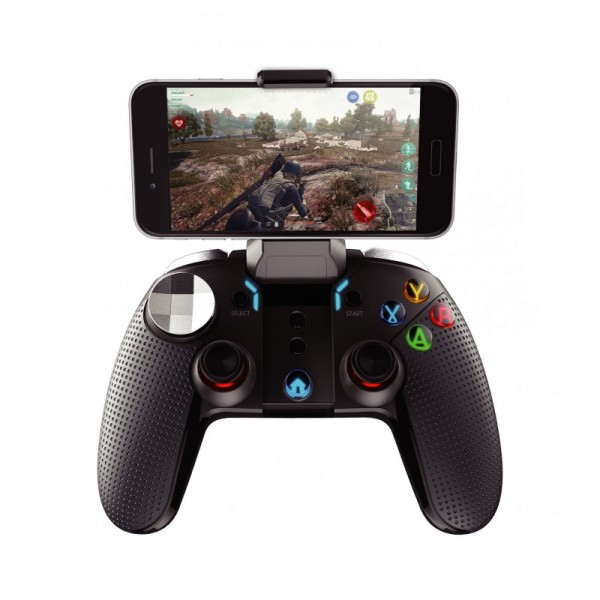 Controller, Joystick telefon gaming Dualshock, vibratii & lumini, ANDROID & IOS, AKASHI, Wireless & Bluetooth, Negru