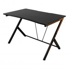 Birou de gaming DELTACO GAMING 116x75x75cm, picioare metalice, suprafata tratata din PVC, suport incorporat pentru casti, negru/portocaliu