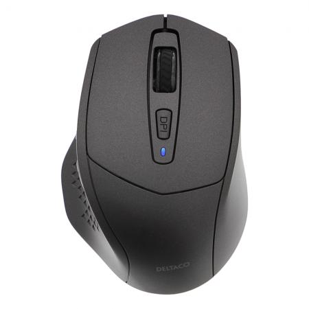 Mouse wireless silentios DELTACO, Bluetooth, 4 butoane, 800-1600 DPI, negru