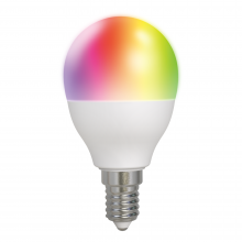 Bec smart LED RGB DELTACO SMART HOME, E14, WiFI 2.4GHz, 5W, 470lm, reglabil, Google Assistant si Amazon Alexa, 2700K-6500K, alb