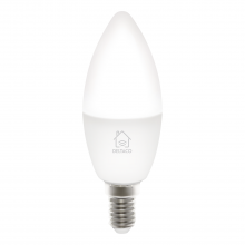 Bec smart LED DELTACO SMART HOME, E14, WiFI 2.4GHz, 5W, 470lm, reglabil, Google Assistant si Amazon Alexa, 2700K-6500K, 220-240V, alb
