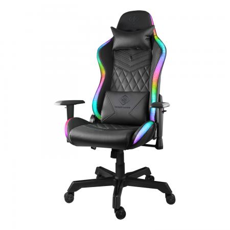 Scaun gaming DELTACO GAMING RGB, 332 pozitii iluminare LED, telecomanda, perna pentru gat si perna lombra, Negru/ RGB