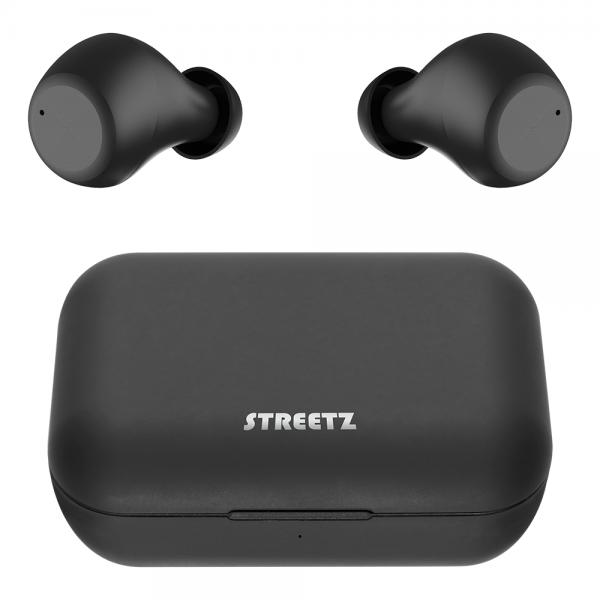 Casti Bluetooth STREETZ Wireless Stereo, BT 5, TWS, cutie de incarcare 500 mAh, negru