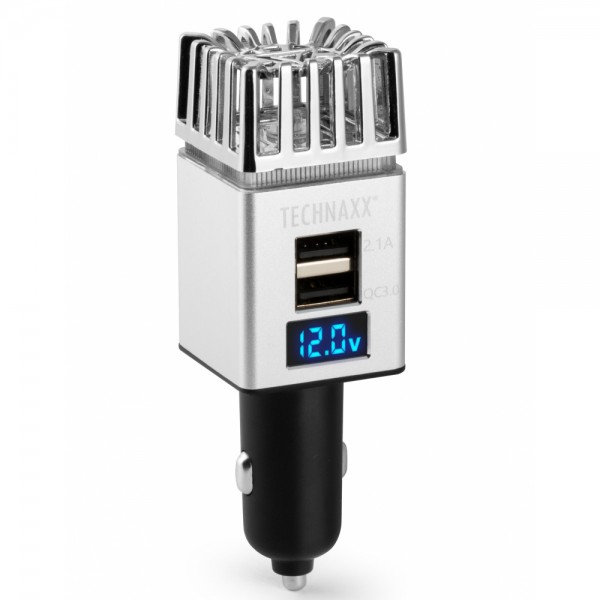 Purificator aer auto Technaxx, ionizare si producere ozon, dublu port USB, 18W, 12 -24V, negru/ argintiu
