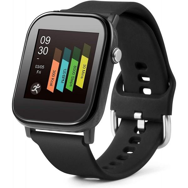 """Smartwatch Technaxx TX-SW6HR cu masurare a temperaturii, ritmului cardiac, pasi, distantele, calorii, somn, ora, data, ecran color de 1.4"""", IP67, negru"""