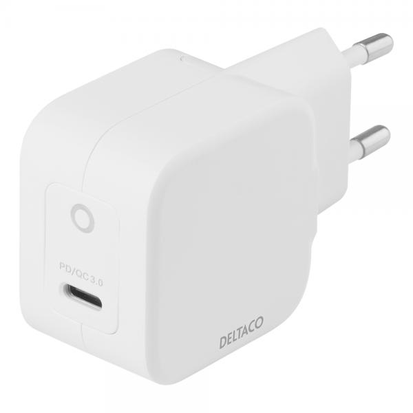 Incarcator de priza USB-C 61W DELTACO, Power Delivery si tehnologie GaN, alb