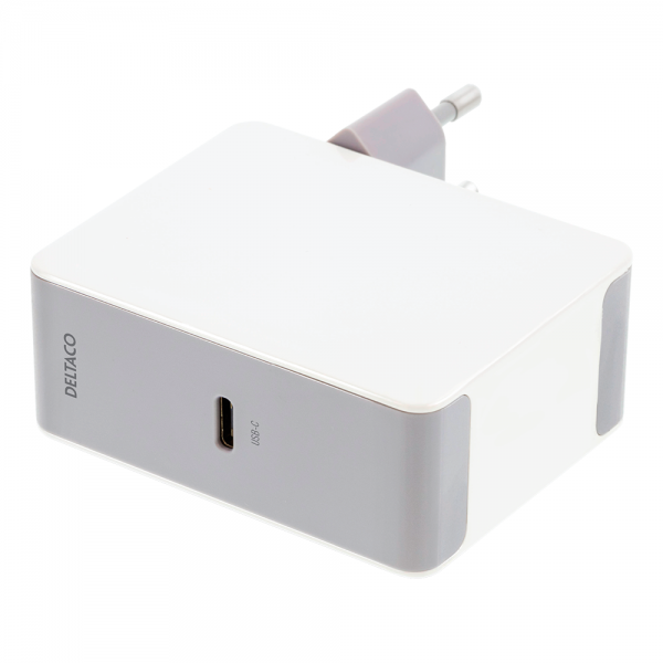 Incarcator priza fast charge 45W DELTACO, 1xUSB-C, Power Delivery, alb/ gri