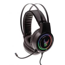 Casti de gaming L33T GJALLARHORN, microfon flexibil, iluminare RGB, 50mm, negru
