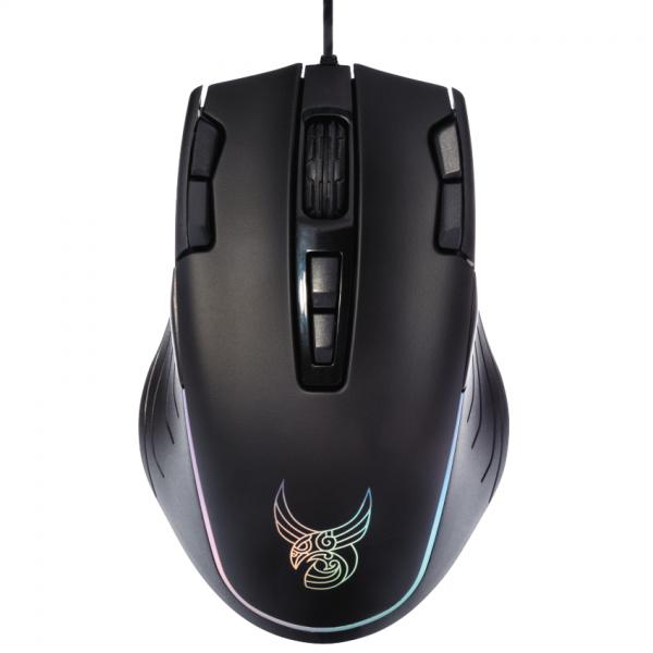 Mouse de gaming RGB programabil L33T MJOLNIR, 11 butoane, 12.000 DPI, negru