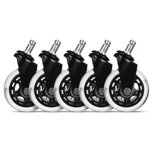 "Set 5 roti de silicon pentru scaune de gaming / birou L33T, universal 3"" negru"