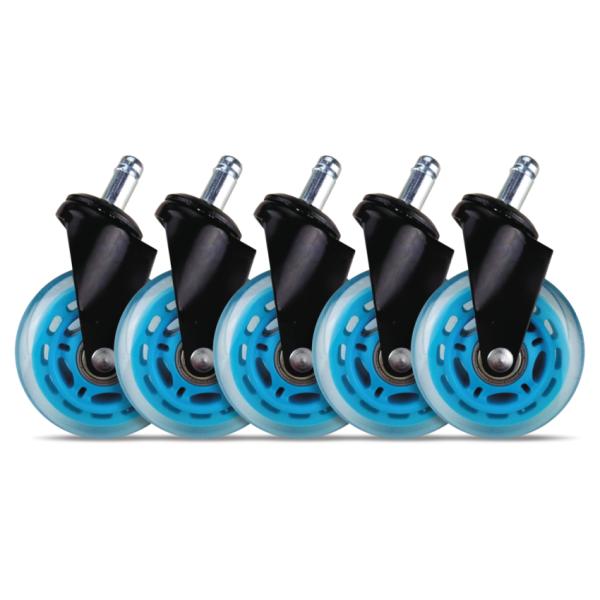 """Set 5 roti de silicon pentru scaune de gaming / birou L33T, universal 3"""" albastru"""