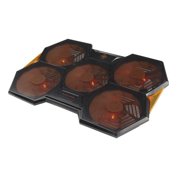 """Cooler laptop DELTACO GAMING, 17.3"""", 1000-1300 RPM, 5 ventilatoare 140mm, 2 x USB-A, 2 pozitii inclinare, negru / portocaliu"""