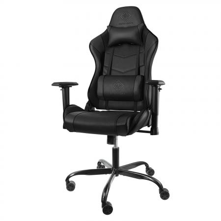 Scaun gaming ergonomic DELTACO GAMING, Piele PU, ampatament in 5 puncte, spate inalt, perna pentru gat si suport lombar, negru