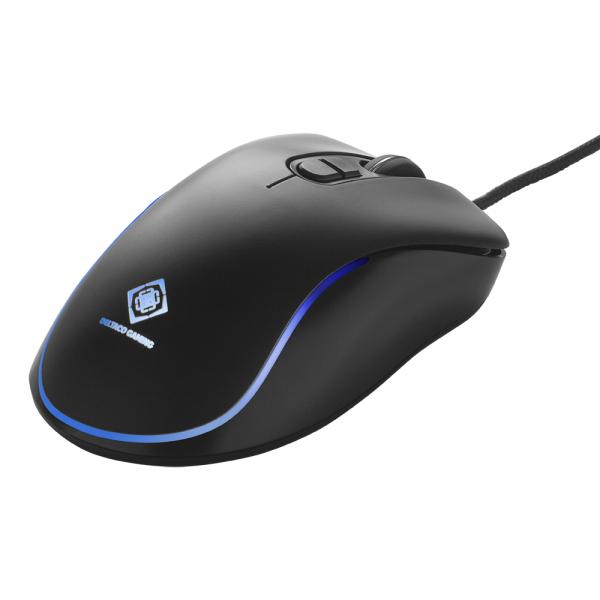 Mouse de gaming RGB Deltaco Gaming DM120, 800-2400 DPI, 125 Hz, 7 moduri RGB, USB, negru