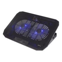 "Cooler laptop DELTACO 15.6"", 2 ventilatoare cu LED, 2 x USB-A, 5 pozitii suport, negru"