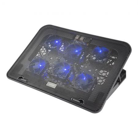 "Cooler laptop DELTACO 15.6"", 6 ventilatoare cu LED, 2 x USB-A, 5 pozitii suport, negru"