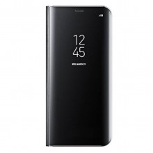 Husa Book Mirror Effect pentru Samsung Galaxy J7 (2018) Black, Acril