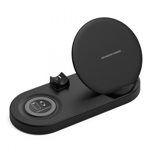 Statie de incarcare Wireless QI Fast Charger 5in1, USB QC2.0, pentru iPhone, Samsung, Airpods, Apple Whatch, Black