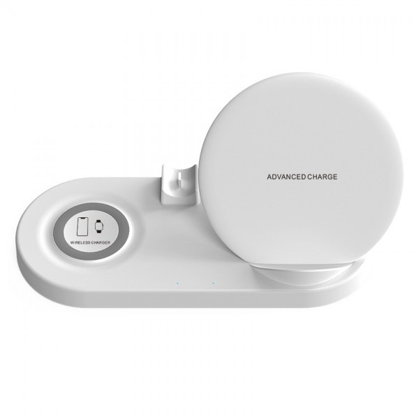 Statie de incarcare Wireless QI Fast Charger 5in1, USB QC2.0, pentru iPhone, Samsung, Airpods, Apple Whatch, White