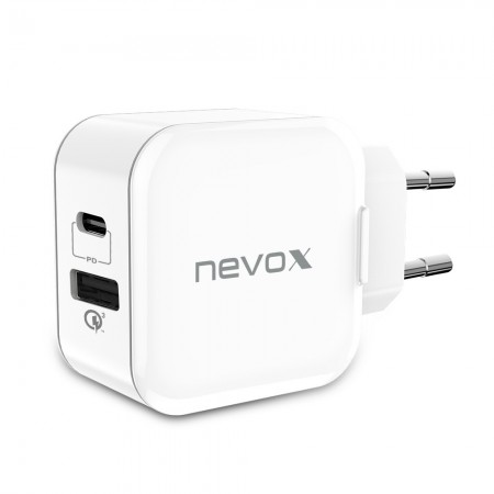 Incarcator priza fast charge 18W NEVOX, USB-C Power Delivery  + USB Qualcomm Quick Charge 3.0, alb