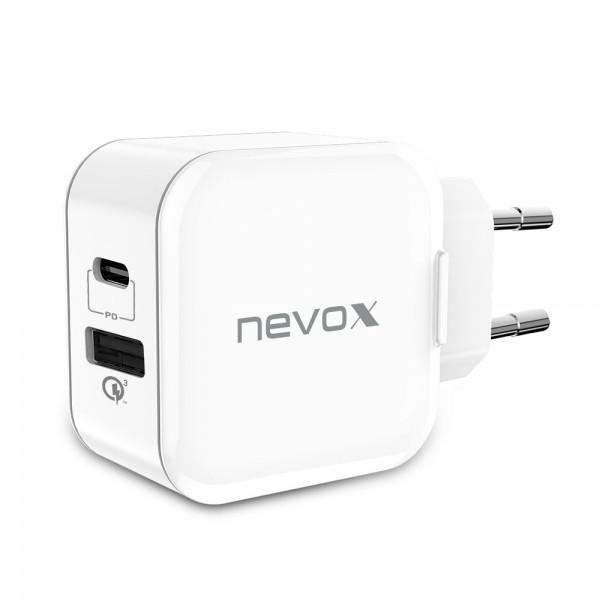 Incarcator priza fast charge 18W NEVOX, USB-C Power Delivery + USB Qualcomm Quick Charge 3.0, alb