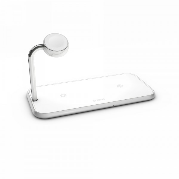 Statie incarcare wireless fast charge dual + Apple Watch ZENS Aluminium 10W Qi White