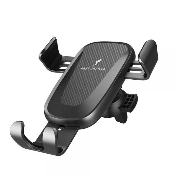 Incarcator Wireless Fast Charger Gravity, prindere in grila de ventilatie, Black