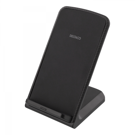 Incarcator wireless fast charge stand 10W DELTACO, Qi 1.2.4, negru