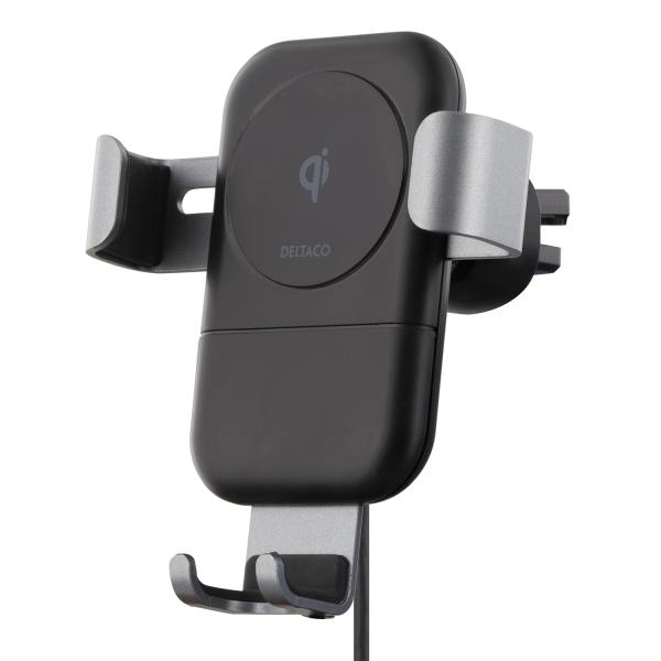 Incarcator auto wireless fast charge gravity DELTACO, 10W, Qi 1.2.4, cablu USB-C inclus, negru